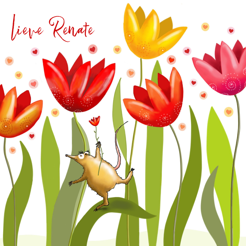 Verjaardagskaarten - Verjaardag - Fantasie tulpen met feestbeestje