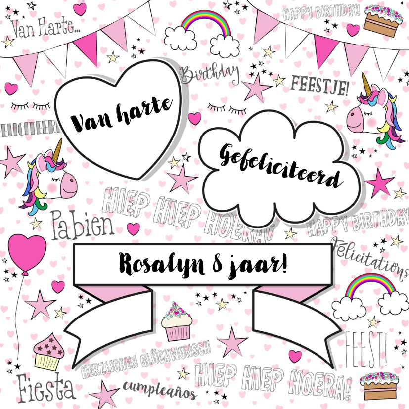 Verjaardagskaarten - Verjaardag feestelijke kaart handletteringstijl met unicorns