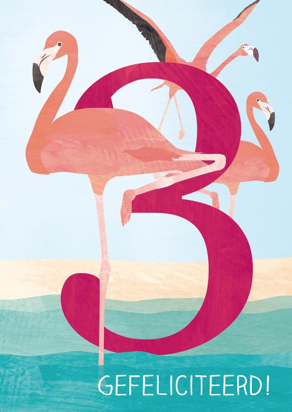Verjaardagskaarten - Verjaardag flamingo 3 jaar