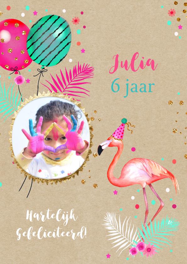 Verjaardag Flamingo Ballonnen Kaartje2go