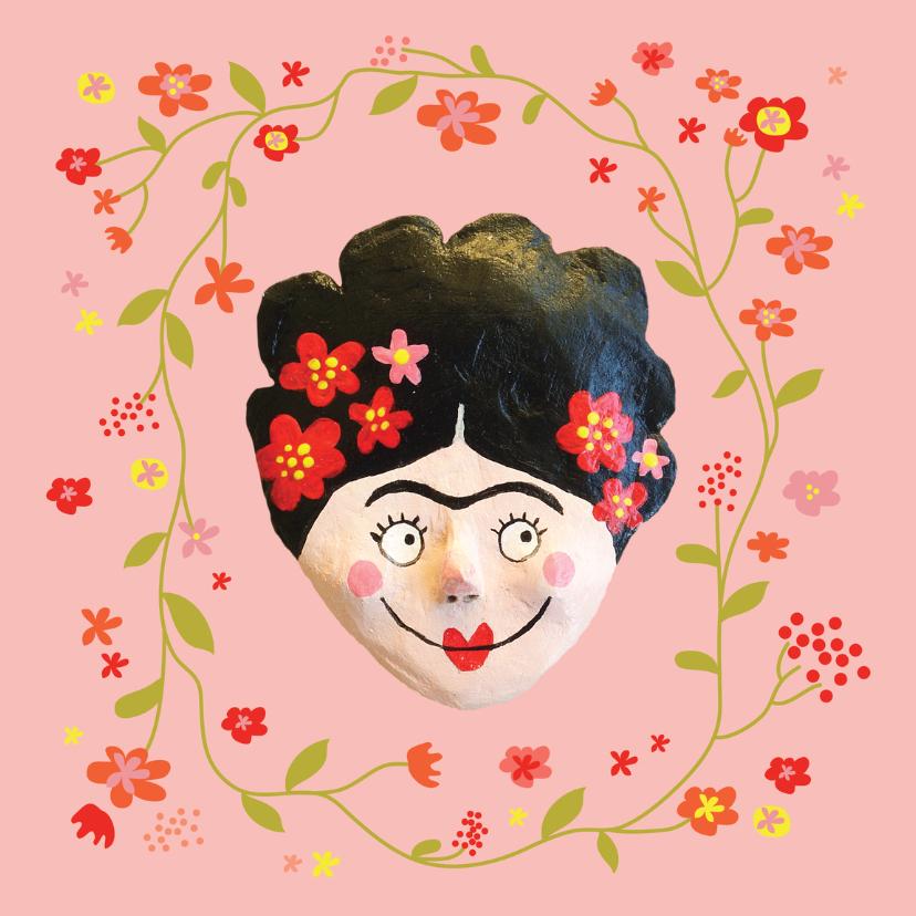 Verjaardagskaarten - verjaardag Frida Kahlo bloemen