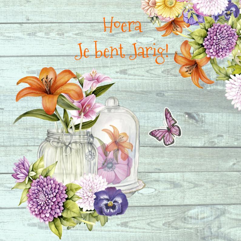 Verjaardagskaarten - verjaardag gekleurde bloemen