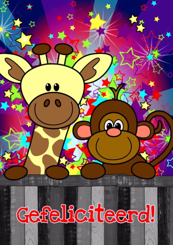 Verjaardagskaarten - verjaardag giraf aap vrolijk S-H