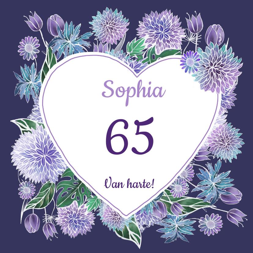 Verjaardagskaarten - Verjaardag hart paarse bloemen