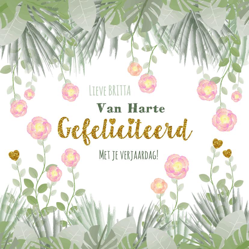 Verjaardagskaarten - Verjaardag hippe kaart met bloemen en botanica