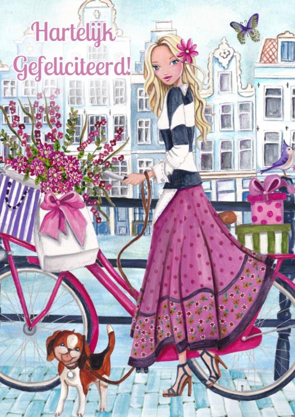 Verjaardagskaarten - Verjaardag Illustratie fiets