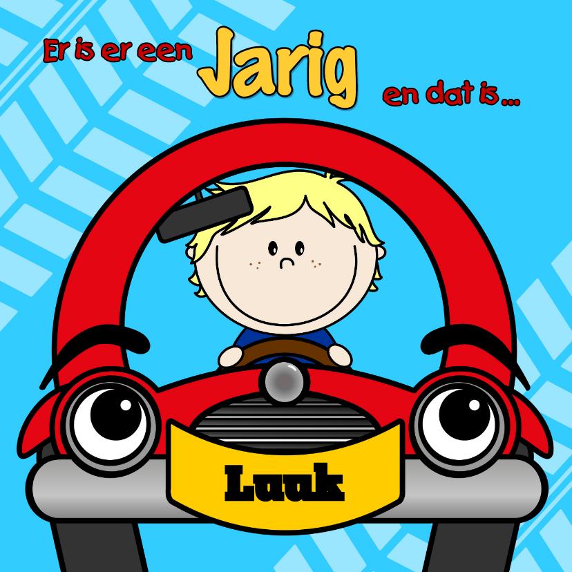 Verjaardagskaarten - Verjaardag jongen in auto