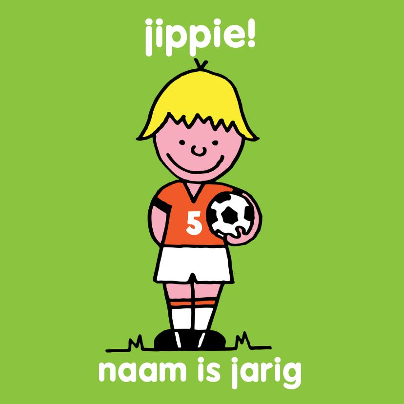Verjaardagskaarten - Verjaardag jongen oranje voetbal