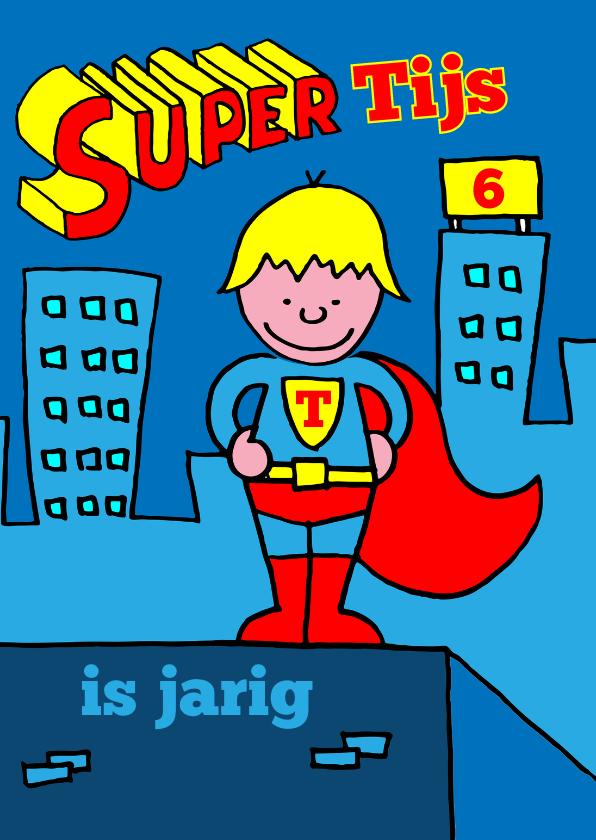 Verjaardagskaarten - verjaardag jongen superman blond