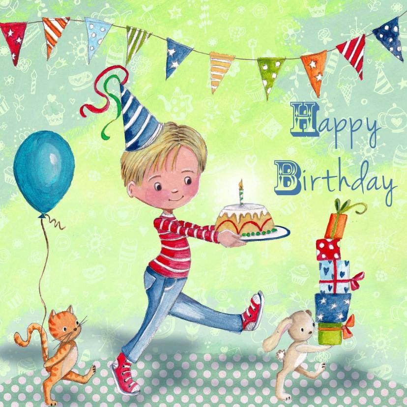 Verjaardagskaarten - Verjaardag Jongen Taart Ballon