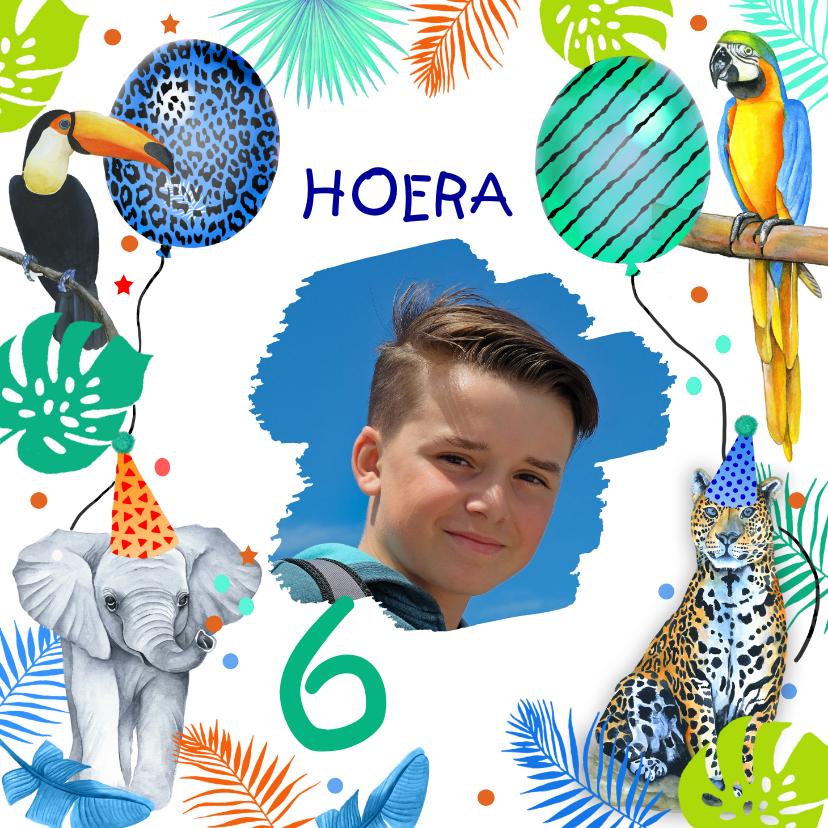 Verjaardagskaarten - Verjaardag jongetjes wilde dieren