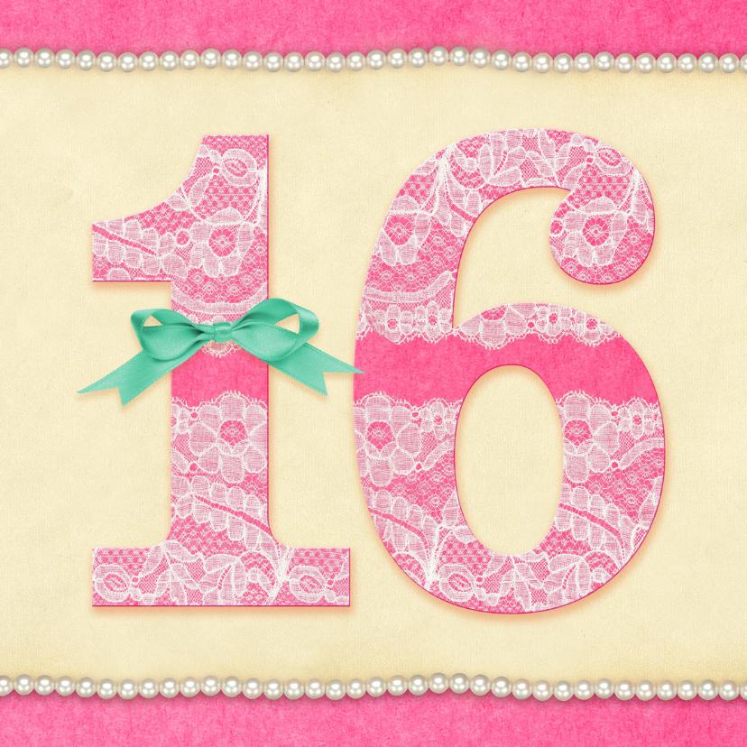 Verjaardagskaarten - Verjaardag Kant & Parels 16