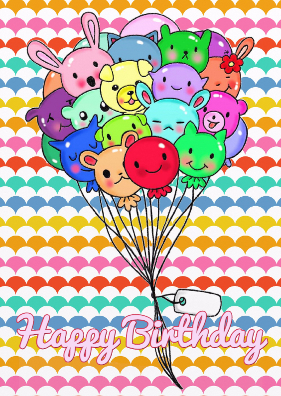 Verjaardagskaarten - Verjaardag Kawaii Balloons - TbJ