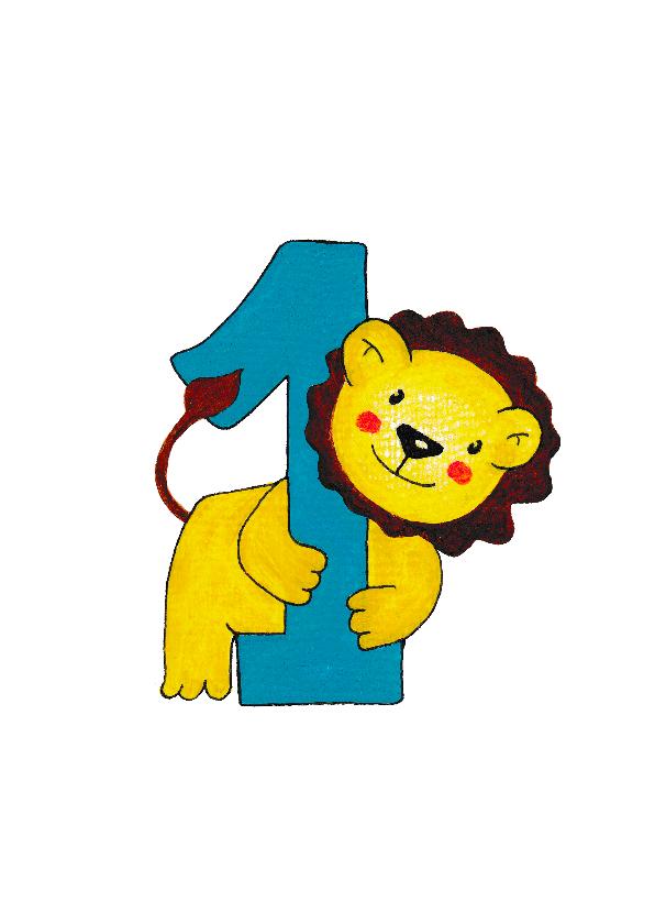 Verjaardagskaarten - Verjaardag kind 1 jaar leeuwtje - HR