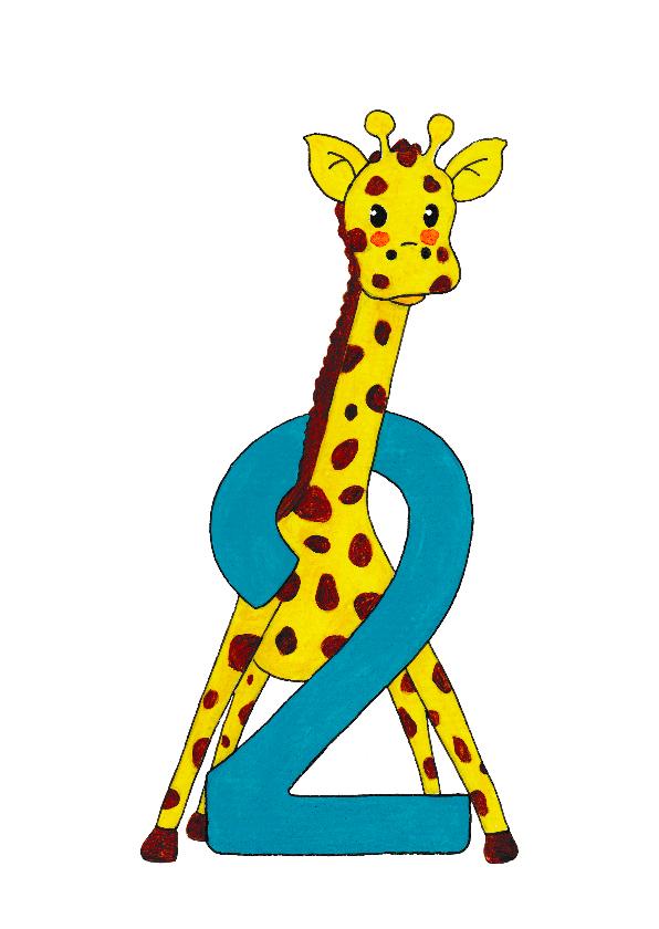 verjaardagskaart kind 2 jaar Verjaardag kind 2 jaar giraf  | Kaartje2go verjaardagskaart kind 2 jaar