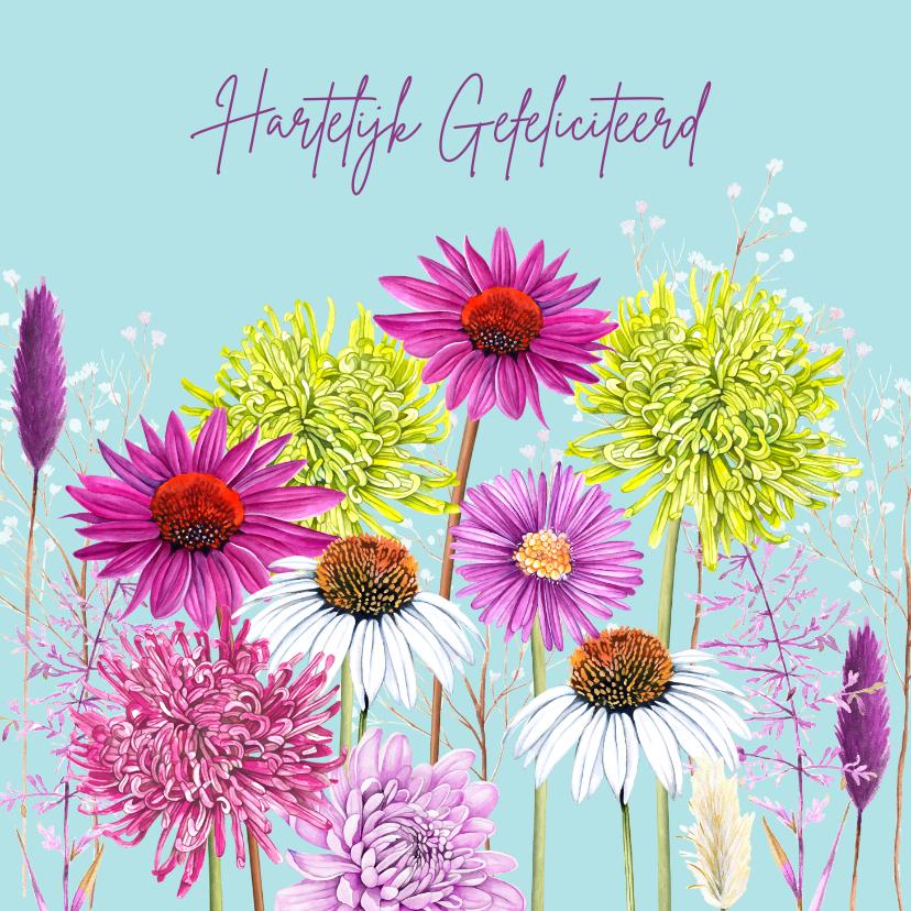 Verjaardagskaarten - Verjaardag kleurrijke bloemen
