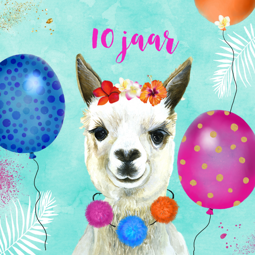 Verjaardagskaarten - Verjaardag lama ballonnen