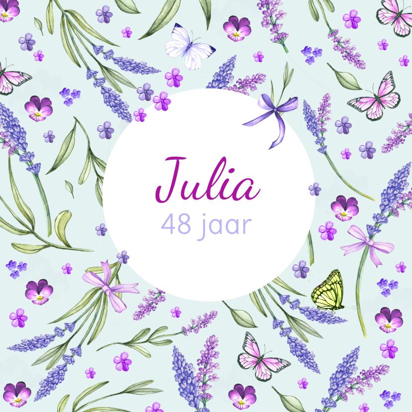 Verjaardagskaarten - Verjaardag lavendel zomer