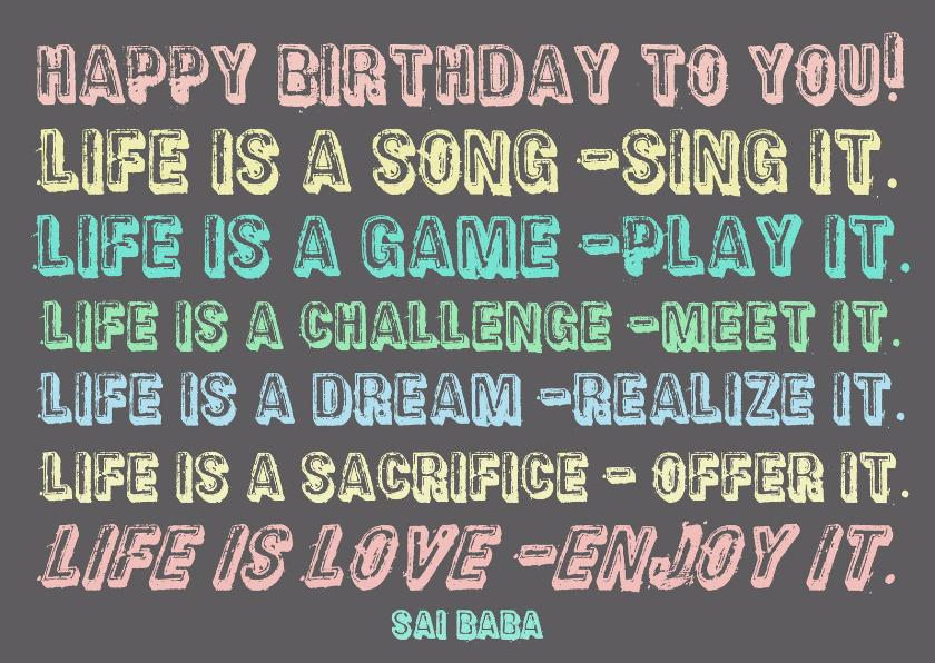Verjaardagskaarten - Verjaardag Life is a Dream IW