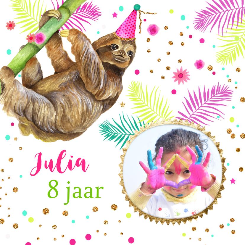 Verjaardagskaarten - Verjaardag luiaard ballonnen