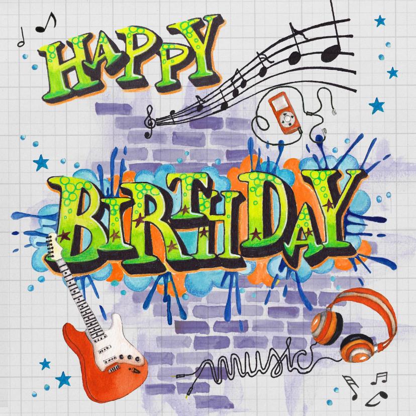 Verjaardagskaarten - Verjaardag Man Muziek Graffiti