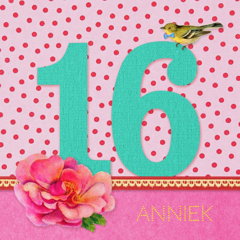 Verjaardagskaarten - Verjaardag Meisje 16