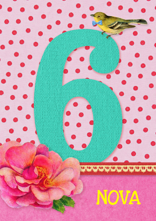 Verjaardagskaarten - Verjaardag Meisje 6 roze