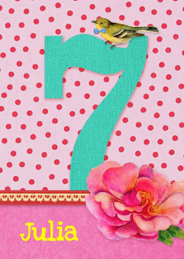 Verjaardagskaarten - Verjaardag Meisje 7 roze