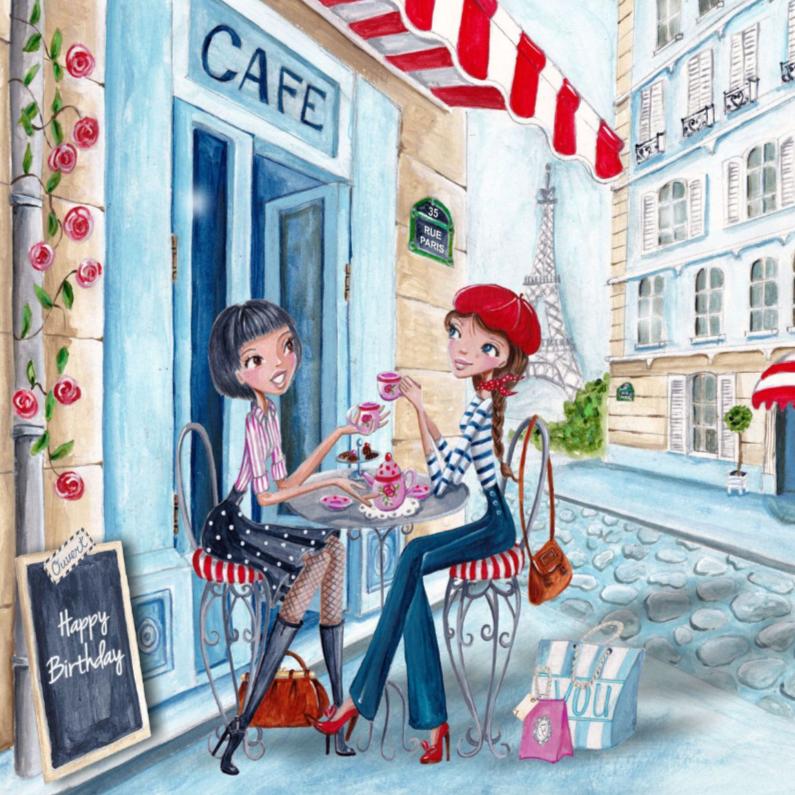 Verjaardagskaarten - Verjaardag Meisje Parijs Illustratie