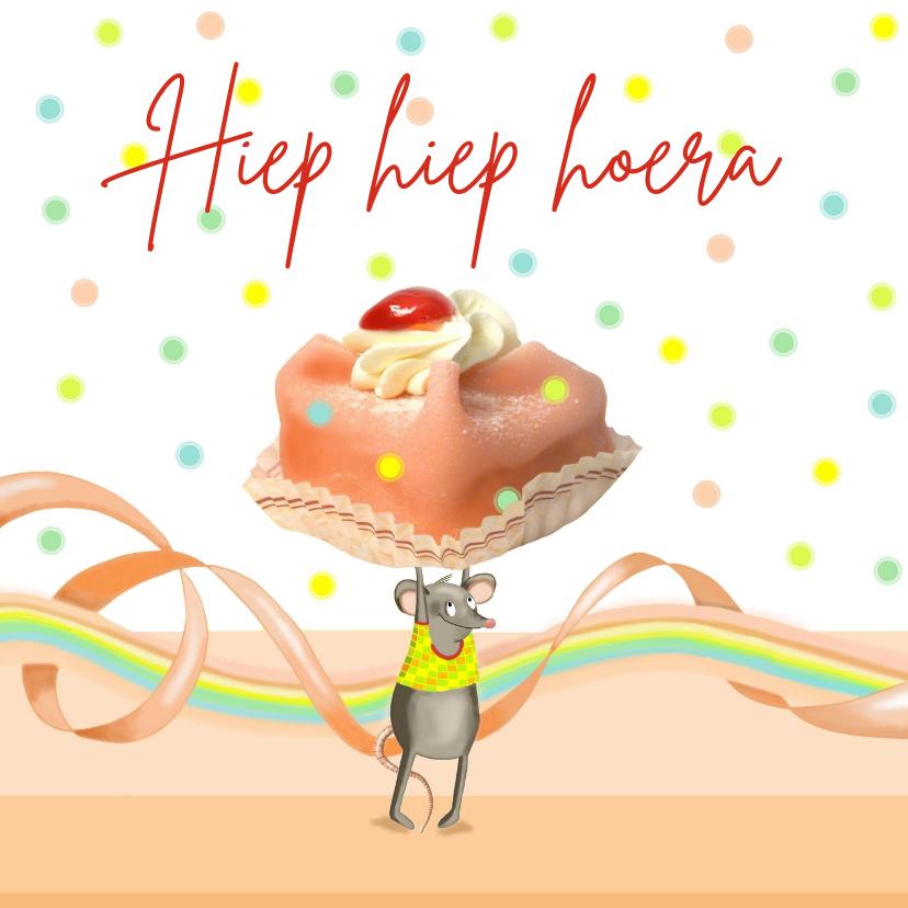 Verjaardagskaarten - Verjaardag - muis met gebakje