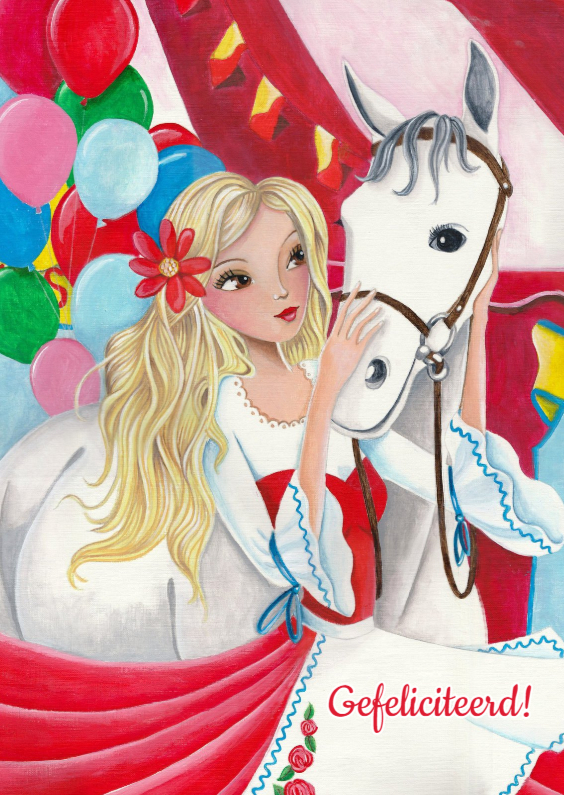 Verjaardagskaarten - Verjaardag Paarden Meisje
