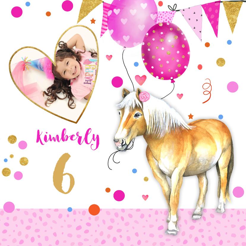 Verjaardagskaarten - Verjaardag paardje ballonnen
