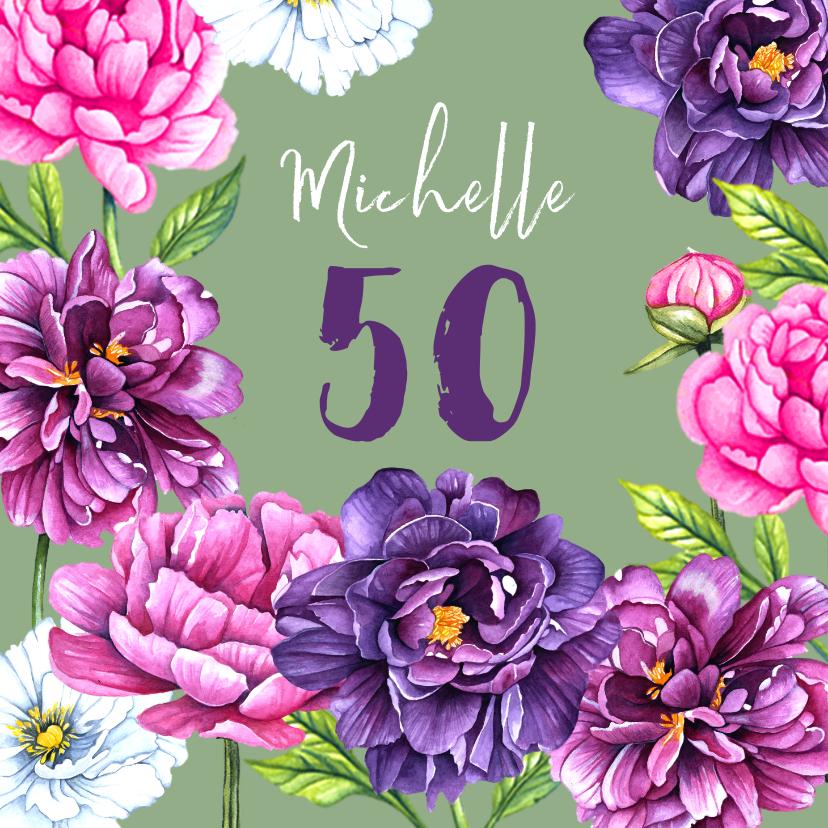 Verjaardagskaarten - Verjaardag pioenrozen botanical