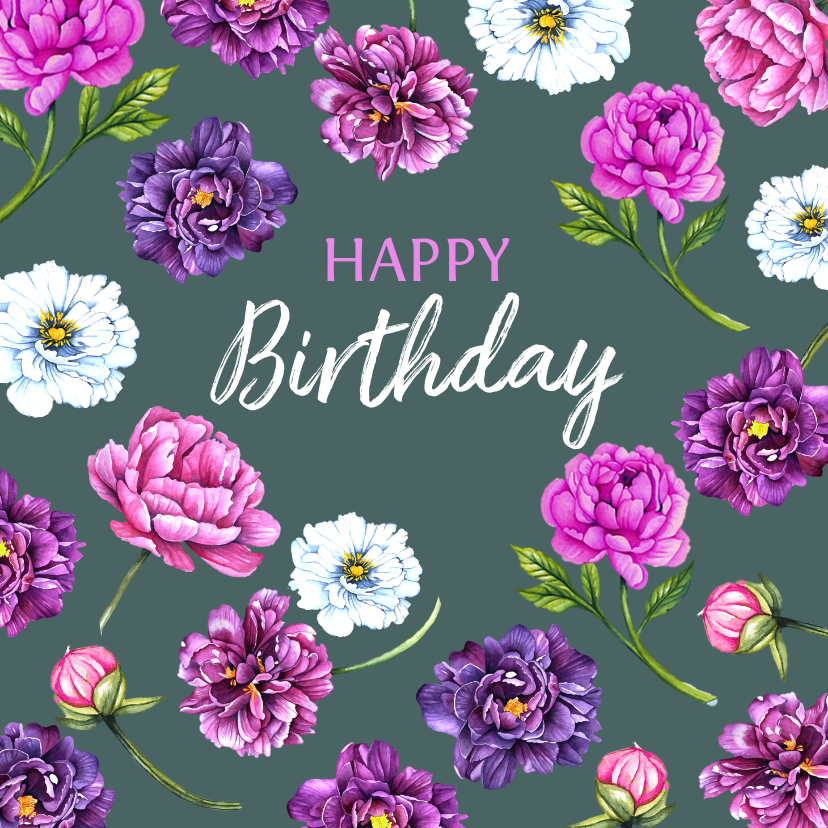 Verjaardagskaarten - Verjaardag pioenrozen purple