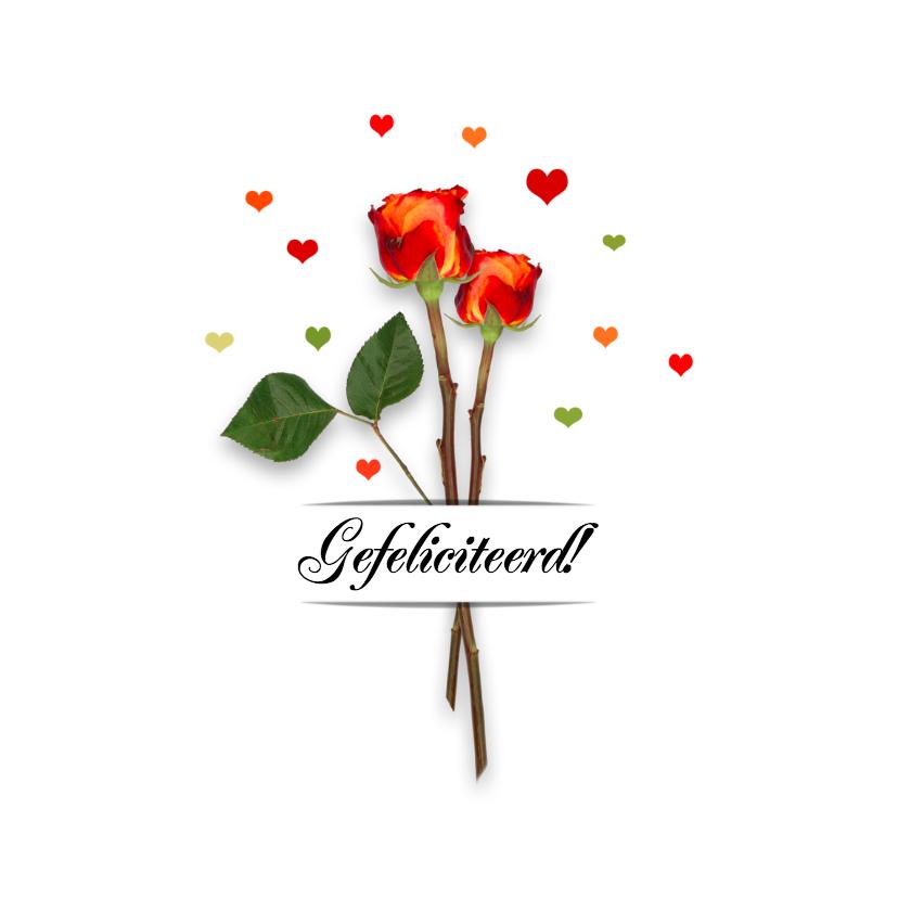 Verjaardagskaarten - Verjaardag rozen en hartjes B