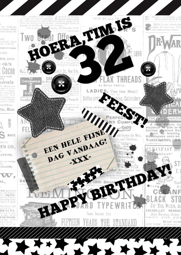 Verjaardagskaarten - Verjaardag stoer zwart wit