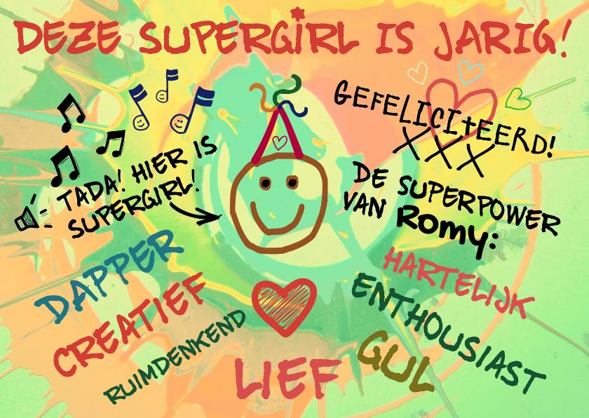 Verjaardagskaarten - Verjaardag Supergirl Leeuw IW
