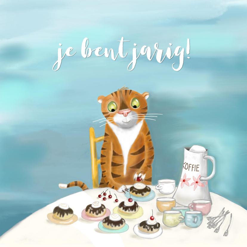 Verjaardagskaarten - Verjaardag - Tijger met koffie en moorkoppen