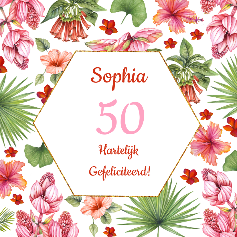 Verjaardagskaarten - Verjaardag tropical flower