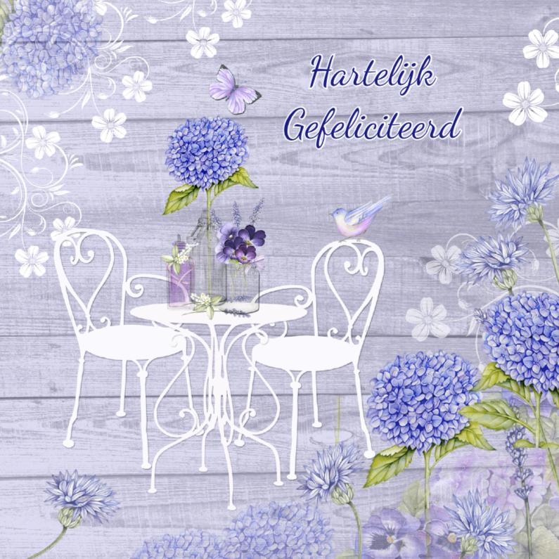 Verjaardagskaarten - verjaardag tuinset hortensia