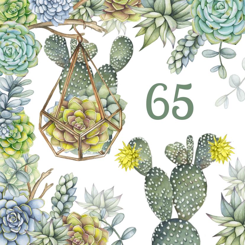 Verjaardagskaarten - Verjaardag vetplant cactus groen
