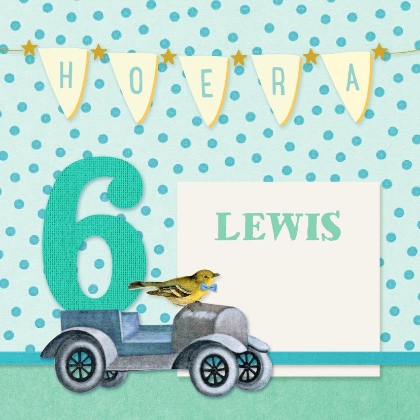 Verjaardagskaarten - Verjaardag vintage 6 jaar