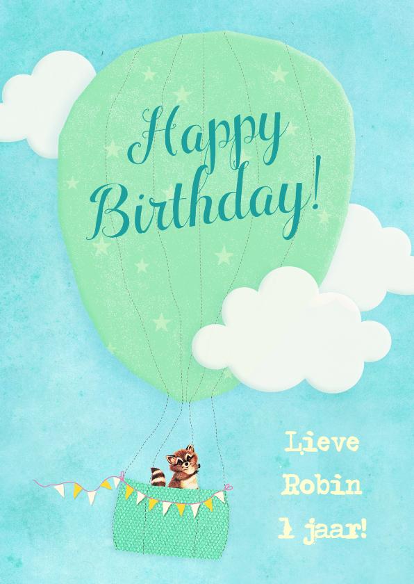 Verjaardagskaarten - Verjaardag Vintage Luchtballon