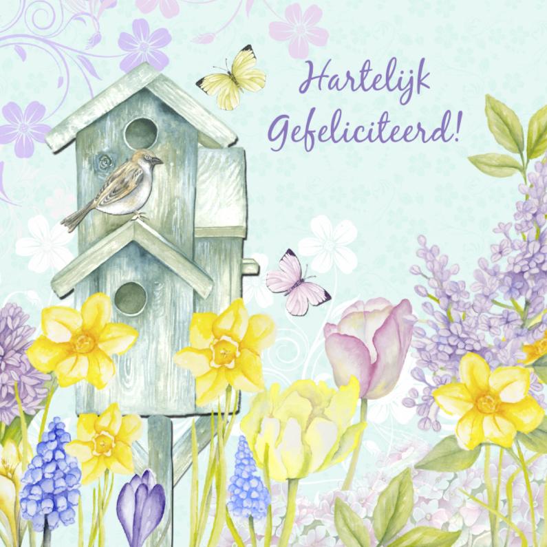 Verjaardagskaarten - Verjaardag vogelhuis bloemen
