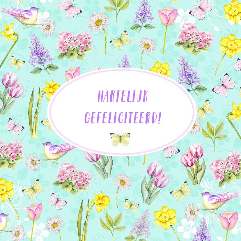 Verjaardagskaarten - Verjaardag voorjaarsbloemen