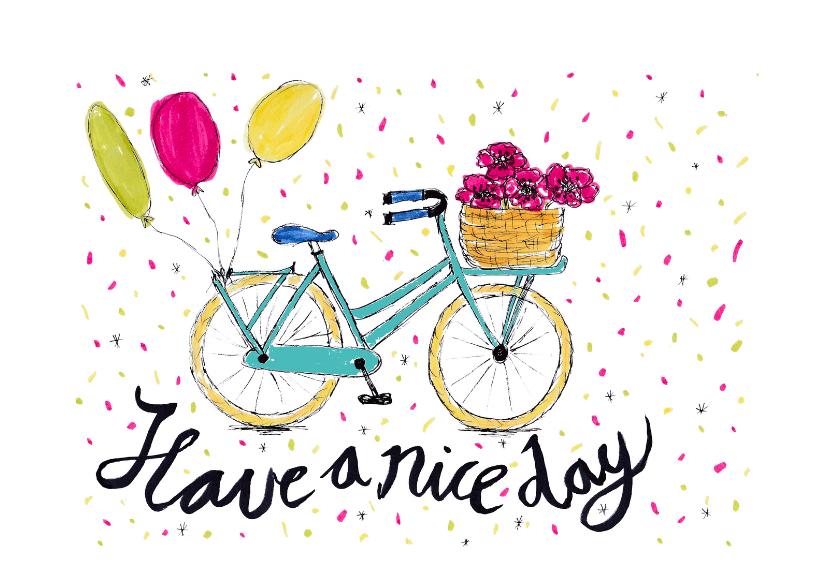 Verjaardagskaarten - Verjaardag-vrolijke fiets-HR