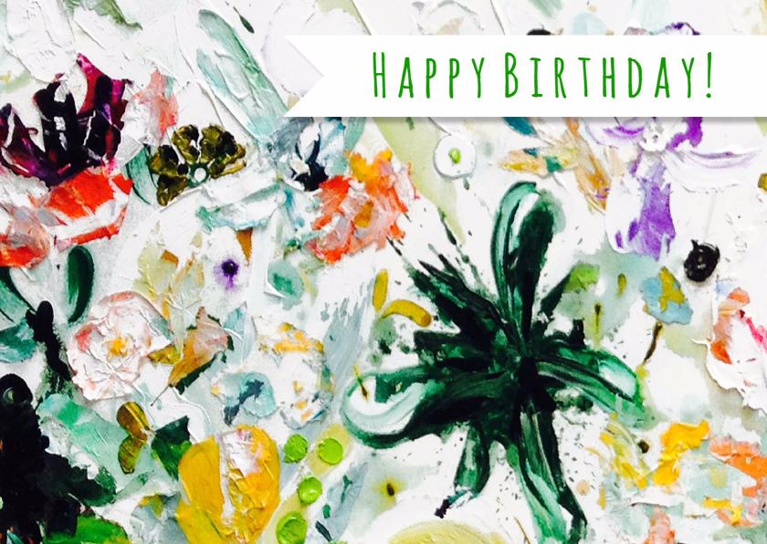 Verjaardagskaarten - Verjaardag wens kunst botanisch