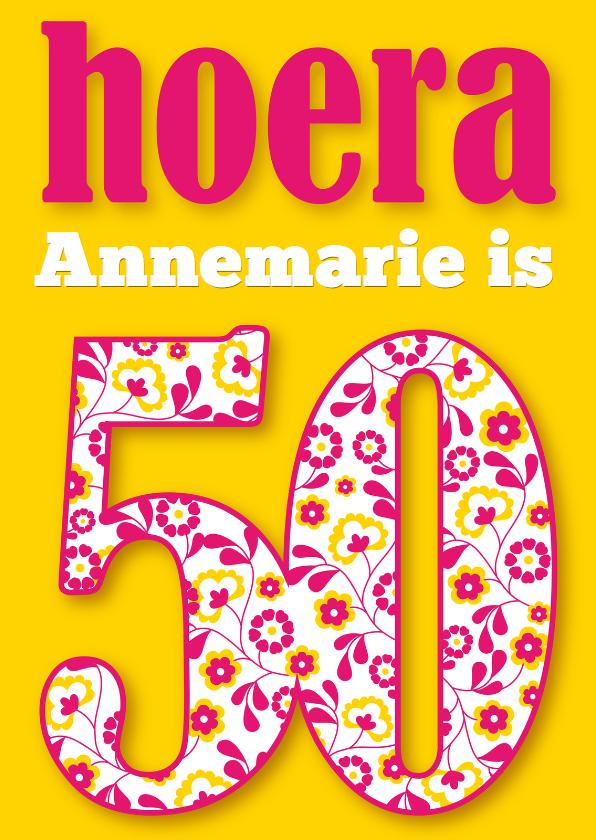 Verjaardagskaarten - Verjaardagkaart 50 bloemenprint vrouw