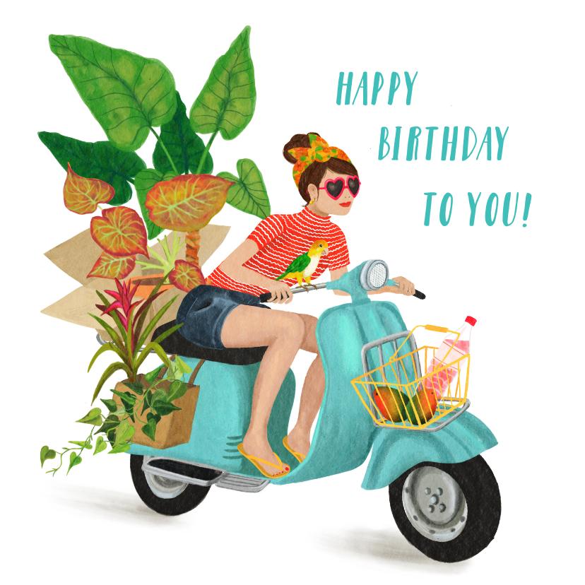 Verjaardagskaarten - Verjaardagkaart, hip meisje op vintage scooter met plantjes