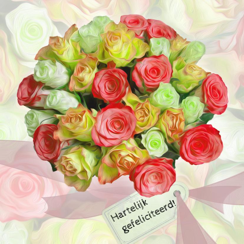 Verjaardagskaarten - Verjaardagkaart lint en rozen